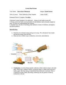Three Methods of Heat Transfer Lesson Plan