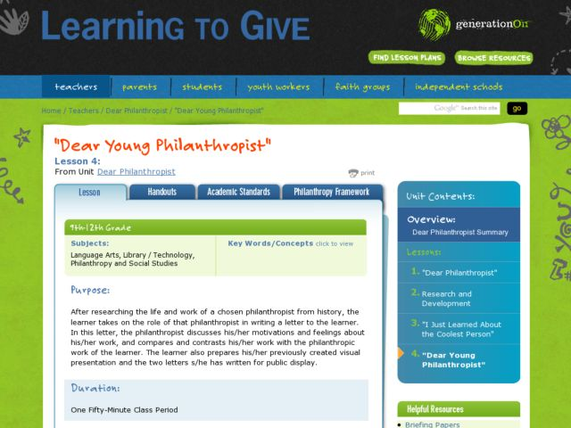 Dear Young Philanthropist Lesson Plan