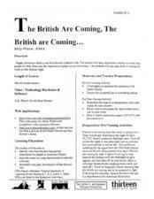 The British Are Coming, The British Are Coming...... Lesson Plan