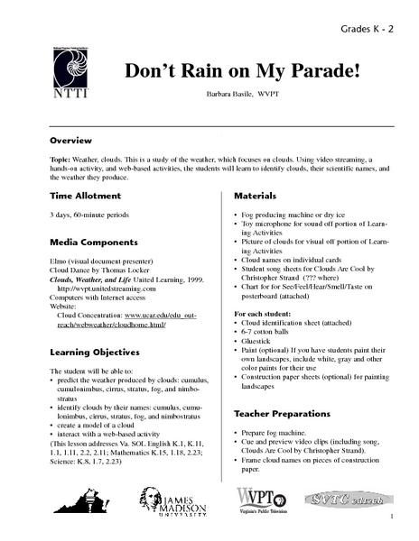Don't Rain on My Parade Lesson Plan