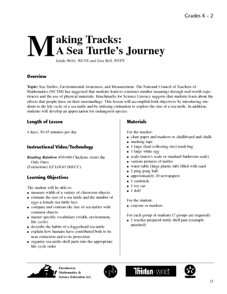 Making Tracks: A Sea Turtle's Journey Lesson Plan