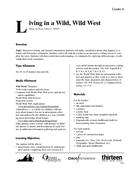 Living in a Wild, Wild West Lesson Plan
