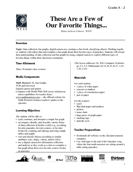 These Are a Few of Our Favorite Things... Lesson Plan
