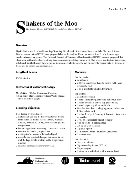 Shakers of the Moo Lesson Plan