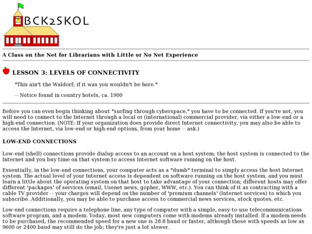Levels of Connectivity Lesson Plan