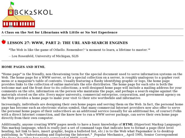 WWW, Part 2:  The URL and Search Engines Lesson Plan