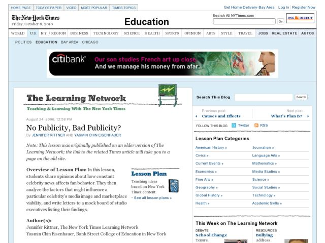 No Publicity, Bad Publicity? Lesson Plan