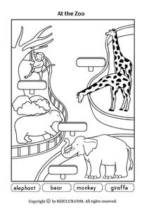 At the Zoo Worksheet for Kindergarten - 1st Grade | Lesson ...