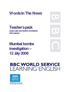 Mumbai Bomb Investigation Lesson Plan