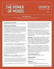 The Power of Words: Social Justice Words Lesson Plan