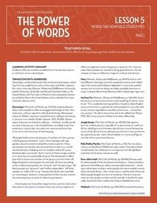 The Power of Words Words That Reinforce Stereotypes Lesson Plan
