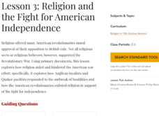 Lesson 3: Religion and the Fight for American Independence Lesson Plan