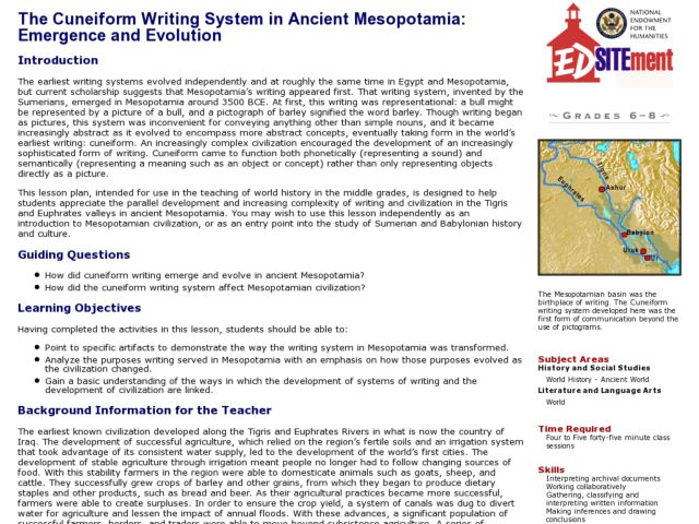 Ancient Sumer Mesopotamia Lesson Plans Worksheets – Mesopotamia Worksheets