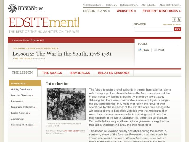 The War in the South, 1778-1781 Lesson Plan