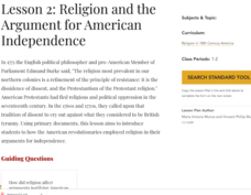 Lesson 2: Religion and the Argument for American Independence Lesson Plan
