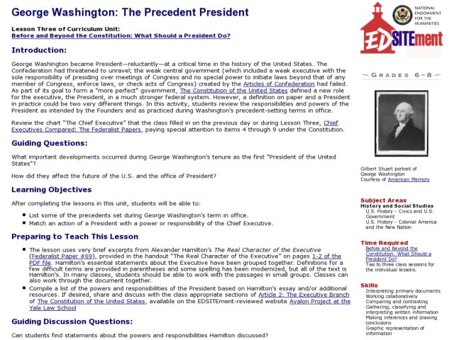 George Washington The Precedent President 6th 8th Grade Lesson – George Washington Worksheet