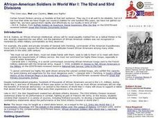African-American Soldiers in World War I: The 92nd and 93rd Divisions Lesson Plan