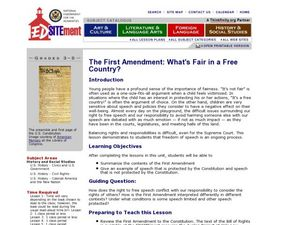 The First Amendment: What's Fair in a Free Country Lesson Plan