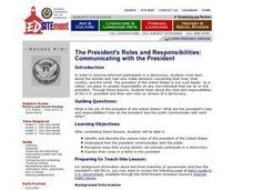 The President's Roles and Responsibilities: Communicating with the President Lesson Plan