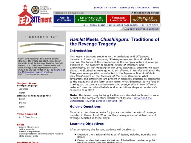 Hamlet Meets Chushingura: Traditions of the Revenge Tragedy Lesson Plan