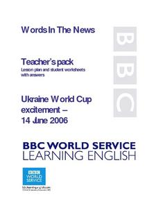 Words in the News: Ukraine World Cup Excitement Lesson Plan