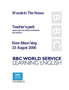 Words in the News: New Maori King Lesson Plan