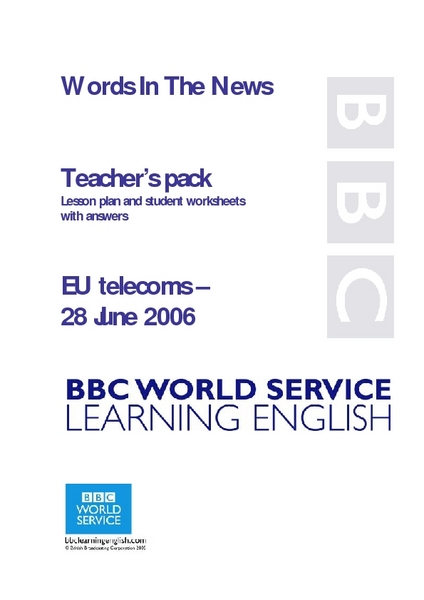 Words in the News: EU Telecoms Lesson Plan