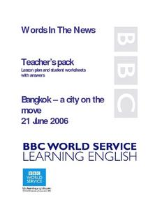 Words in the News: Bangkok - A City on the Move Lesson Plan