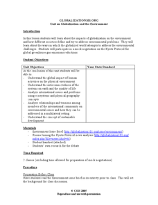 Unit on Globalization and the Environment Lesson Plan