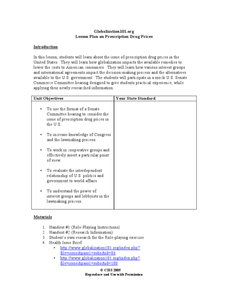 Globalization101.org Lesson Plan on Prescription Drug Prices Lesson Plan