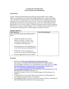Unit on Women and Globalization Lesson Plan