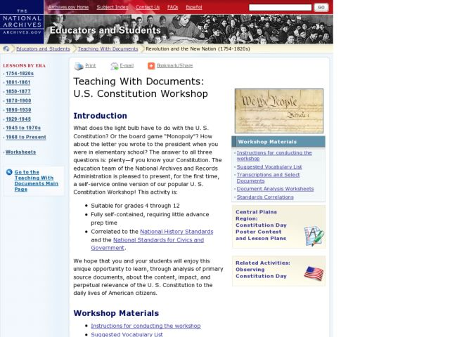 Teaching With Documents: U.S. Constitution Workshop Lesson Plan