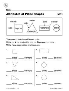 Attributes of Plane Shapes Worksheet for 1st Grade | Lesson Planet