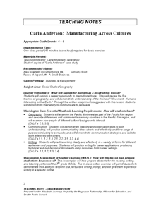 Carla Anderson: Manufacturing Across Cultures Lesson Plan