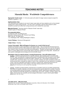 Masushi Shoda: Worldwide Competitiveness Lesson Plan