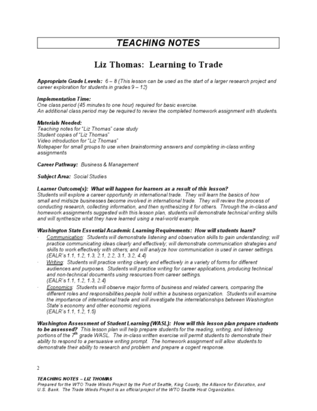 Liz Thomas: Learning to Trade Lesson Plan