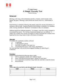 A Simple Viscosity Test Lesson Plan