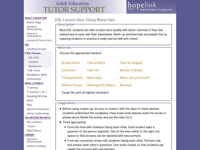ESL: Warm-up Activities Lesson Plan