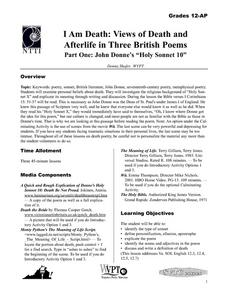 "I Am Death: Views of Death and Afterlife in Three British Poems, Part One: John Donne's ""Holy Sonnet 10"" Lesson Plan"