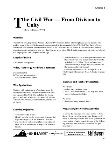 The Civil War - From Division to Unity Lesson Plan