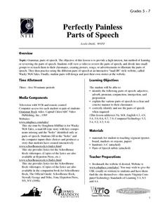 Perfectly Painless Parts of Speech Lesson Plan
