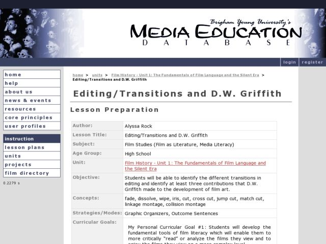 Editing/Transitions and D.W. Griffith Lesson Plan
