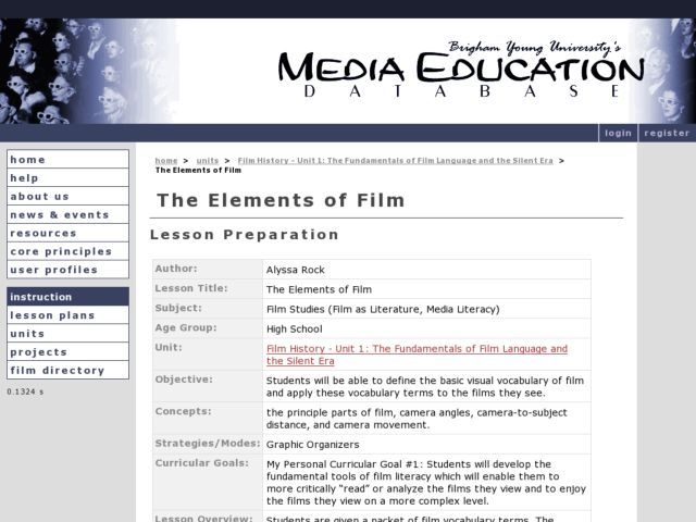 The Elements of Film Lesson Plan