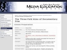The Three-Fold Aims of Documentary Film Lesson Plan