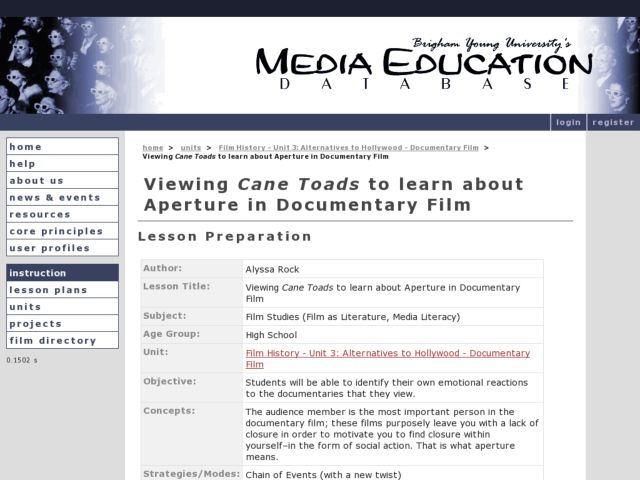 "Viewing ""Cane Toads"" To Learn About Aperture in Documentary Film Lesson Plan"