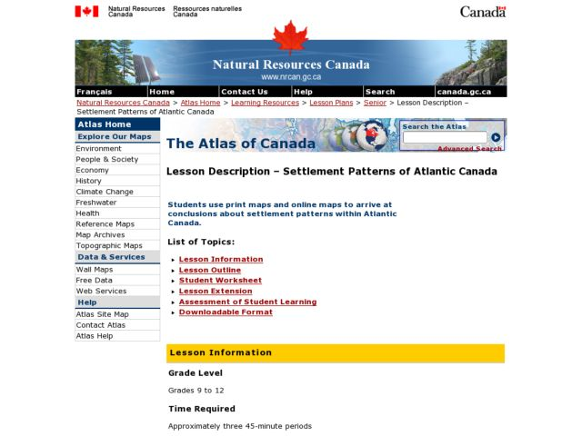 Settlement Patterns of Atlantic Canada Lesson Plan