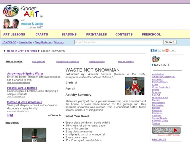 A Waste Not Snowman Lesson Plan
