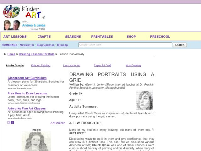 Drawing Portraits Using a Grid Lesson Plan