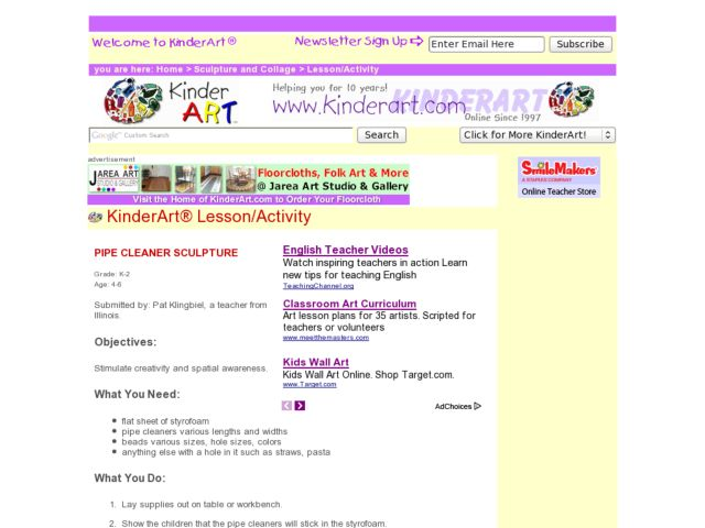 Pipe Cleaner Sculpture Lesson Plan for Kindergarten - 6th