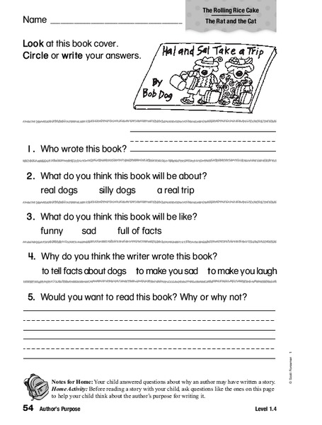 Author's Purpose Worksheet for 1st   2nd Grade   Lesson Planet